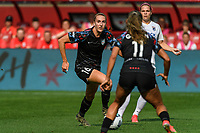 BRIDGEVIEW, IL - JULY 18: Sarah Woldmoe #16 of the Chicago Red Stars dribbles the ball during a game between OL Reign and Chicago Red Stars at SeatGeek Stadium on July 18, 2021 in Bridgeview, Illinois.