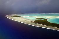 Aerial view of the atoll of Aitutaki. Rarotonga The Cook Islands.