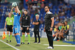 Getafe CF's coach Jose Bordalas (r) and Raul Garcia Carnero during friendly match. August 10,2019. (ALTERPHOTOS/Acero)