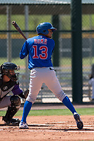 Chicago Cubs shortstop Josue Huma (13) at bat during an Extended Spring Training game against the Colorado Rockies at Sloan Park on April 17, 2018 in Mesa, Arizona. (Zachary Lucy/Four Seam Images)