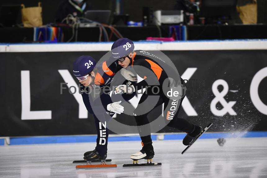 SCHAATSEN: HEERENVEEN: 12-12-2020, IJsstadion Thialf, Shorttrack, NK Shorttrack Afstanden, Melle van 't Wout, Niels Kingma, ©foto Martin de Jong