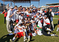 Maryland Terrapins show off the 2008 NCAA Men's College Cup trophy.  Maryland Terrapins defeated North Carolina Tar Heels 1-0 to win the NCAA Men's College Cup at Pizza Hut Park in Frisco, TX on December 14, 2008.  Photo by Wendy Larsen/isiphotos.com