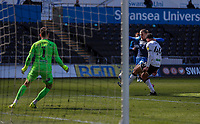 5th April 2021; Liberty Stadium, Swansea, Glamorgan, Wales; English Football League Championship Football, Swansea City versus Preston North End; Brad Potts of Preston North End shoots at goal but it goes over the bar while under pressure from Ben Cabango of Swansea City
