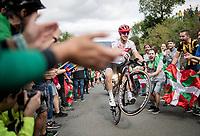 John Degenkolb (DEU/Trek-Segafredo) pulling a wheelie up the brutal (last climb) Alto de Arraiz (up to 25% gradients!), 7km from the finish <br /> <br /> Stage 12: Circuito de Navarra to Bilbao (171km)<br /> La Vuelta 2019<br /> <br /> ©kramon