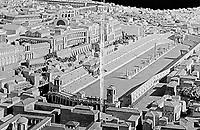 depiction of Circus Maximus chariot racing stadium, Rome Italy, capacity 150,000