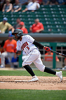 Indianapolis Indians Pablo Reyes (3) at bat during an International League game against the Syracuse Mets on July 17, 2019 at Victory Field in Indianapolis, Indiana.  Syracuse defeated Indianapolis 15-5  (Mike Janes/Four Seam Images)