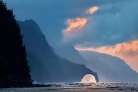 Wave on Napali Coast at sunset from Kea Beach Kauai, Hawaii