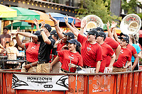 SAN ANTONIO, TX - AUGUST 29, 2019: The University of the Incarnate Word Cardinals and the University of Texas at San Antonio Roadrunners football teams participate in the Hometown Showdown River Parade and Pep Rally at the Arneson River Theater. (Photo by Jeff Huehn)