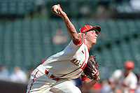 Pitcher Michael Kopech (34) of Mount Pleasant High School in Moutn Pleasant, Texas during the Under Armour All-American Game on August 24, 2013 at Wrigley Field in Chicago, Illinois.  (Mike Janes/Four Seam Images)