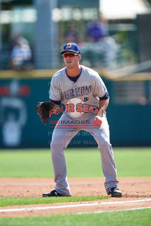 Durham Bulls first baseman Casey Gillaspie (31) during a game against the Rochester Red Wings on July 20, 2016 at Frontier Field in Rochester, New York.  Rochester defeated Durham 6-2.  (Mike Janes/Four Seam Images)