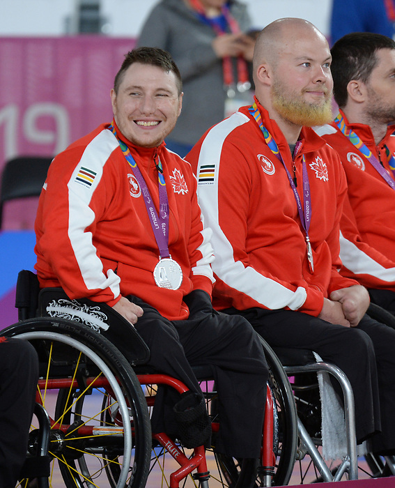 Shayne Smith, Zak Madell, Lima 2019 - Wheelchair Rugby // Rugby en fauteuil roulant.<br /> Canada takes on the USA in wheelchair rugby // Le Canada affronte les États-Unis au rugby en fauteuil roulant. 27/08/2019.