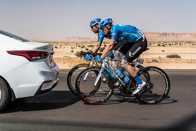 Damiano Cima (ITA) Gazprom-RusVelo off the back during Stage 1 of the Saudi Tour 2020 running 173km from Saudi Arabian Olympic Committee to Jaww, Saudi Arabia. 4th February 2020. <br /> Picture: ASO/Kåre Dehlie Thorstad   Cyclefile<br /> All photos usage must carry mandatory copyright credit (© Cyclefile   ASO/Kåre Dehlie Thorstad)