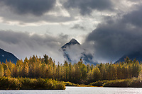Fog and clouds over the Chugach mountains, Chugach National Forest, near Portage, Alaska.