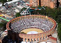 BOGOTA -COLOMBIA , 1- ENERO-2017.Panoramic photo of the bullring La Santa Maria de Bogota where the bullfights began, as well as the presence of strong police security measures due to the anti-bullfighting protestsPhoto: VizzorImage / Felipe Caicedo / Staff