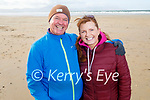 Paul and Fiona O'Connor enjoying a stroll on Banna Beach on Sunday.