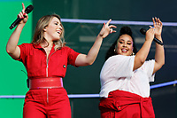 Pictured: (L-R) Kirsten Joy and Nikki Cislyn of of Clean Bandit. Saturday 26 May 2018<br /> Re: BBC Radio 1 Biggest Weekend at Singleton Park in Swansea, Wales, UK.