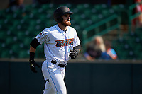 Inland Empire 66ers designated hitter Jared Walsh (21) jogs towards the dugout after hitting his second home run of the afternoon during a California League game against the Lancaster JetHawks at San Manuel Stadium on May 20, 2018 in San Bernardino, California. Inland Empire defeated Lancaster 12-2. (Zachary Lucy/Four Seam Images)