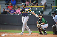 Beloit Snappers Michael Soto (13) swings during the Midwest League game against the Clinton LumberKings at Ashford University Field on June 12, 2016 in Clinton, Iowa.  The LumberKings won 1-0.  (Dennis Hubbard/Four Seam Images)