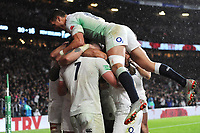 Sam Underhill of England celebrates after scoring a try that was subsequently disallowed during the Quilter International match between England and New Zealand at Twickenham Stadium on Saturday 10th November 2018 (Photo by Rob Munro/Stewart Communications)