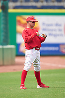 Clearwater Threshers manager Marty Malloy (3) during a game against the Fort Myers Mighty Mussels on July 29, 2021 at BayCare Ballpark in Clearwater, Florida.  (Mike Janes/Four Seam Images)
