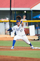 Burlington Royals first baseman Logan Nottebrok (27) stretches for a throw during the game against the Bluefield Blue Jays at Burlington Athletic Stadium on June 28, 2016 in Burlington, North Carolina.  The Royals defeated the Blue Jays 4-0.  (Brian Westerholt/Four Seam Images)