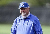 Rogers head coach Mike Harper, Thursday, April 29, 2021 during a softball game at Bentonville High School in Bentonville. Check out nwaonline.com/210430Daily/ for today's photo gallery. <br /> (NWA Democrat-Gazette/Charlie Kaijo)