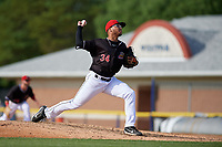 Batavia Muckdogs relief pitcher Geremy Galindez (34) during a NY-Penn League game against the Auburn Doubledays on June 19, 2019 at Dwyer Stadium in Batavia, New York.  Batavia defeated Auburn 5-4 in eleven innings in the completion of a game originally started on June 15th that was postponed due to inclement weather.  (Mike Janes/Four Seam Images)