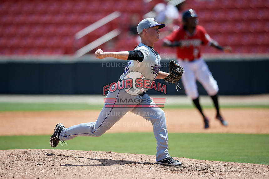 Winston-Salem Dash pitcher Wyatt Burns (20) during a Carolina League game against the Carolina Mudcats on August 14, 2019 at Five County Stadium in Zebulon, North Carolina.  Winston-Salem defeated Carolina 4-2.  (Mike Janes/Four Seam Images)