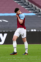 21st March 2021; London Stadium, London, England; English Premier League Football, West Ham United versus Arsenal; A dejected looking Declan Rice of West Ham United after the 3-3 draw
