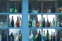 Bottles in Window of Historic Residence, Oysterville, Washington, US