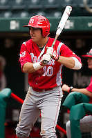 Mike Tauchman (10) of the Bradley Braves on deck during a game against the Missouri State Bears on May 13, 2011 at Hammons Field in Springfield, Missouri.  Photo By David Welker/Four Seam Images
