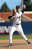 Ivan Dilda #19 of the Pepperdine Waves pitches against the Seton Hall Pirates at Eddy D. Field Stadium on March 8, 2013 in Malibu, California. (Larry Goren/Four Seam Images)