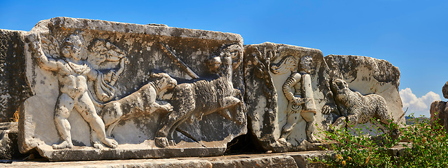 Greek Theatre Frieze - Miletus Archaeological Site, Anatolia, Turkey.