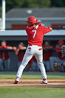 Moises Castillo (7) of the Johnson City Cardinals at bat against the Burlington Royals at Burlington Athletic Stadium on July 15, 2018 in Burlington, North Carolina. The Cardinals defeated the Royals 7-6.  (Brian Westerholt/Four Seam Images)
