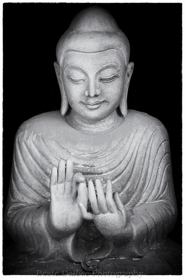 Marble buddha statue along Marble street, Mandalay, Myanmar