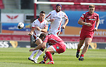 Guiness Pro12<br /> Ulster outside half Ian Humphreys gets his pass away as Scarlets scrum half Gareth Davies comes in to make the tackle.<br /> Scarlets v Ulster<br /> Parc y Scarlets<br /> <br /> 06.09.14<br /> ©Steve Pope-SPORTINGWALES