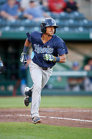 Corpus Christi Hooks second baseman Antonio Nunez (10) runs to first base during a game against the Springfield Cardinals on May 30, 2017 at Hammons Field in Springfield, Missouri.  Springfield defeated Corpus Christi 4-3.  (Mike Janes/Four Seam Images)