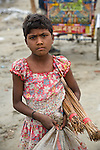 Young Indian girl in Allahabad for Kumbh Mela Festival.