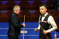 18th April 2021; Crucible Theatre, Sheffield, England; Betfred Snooker World Championships; China's Tian Pengfei R competes during the first round match with Scotlands John Higgins