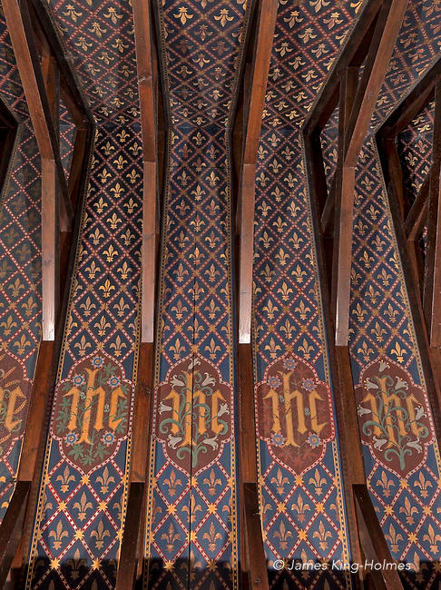 Detail of the beamed and decorated ceiling above the choir and chancel of St Lawrence Church, Tubney, Oxfordshire, UK. This is the only Protestant church designed by Augustus Pugin. The interior fittings were designed by him and remain unchanged since its consecration in 1847.