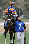April 5, 2014: #7 Stopchargingmaria with jockey Ramon A. Vazquez aboard before the running of the Fantasy Stakes at Oaklawn Park in Hot Springs, AR. Justin Manning/ESW/CSM