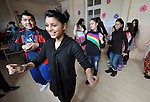 Students dance to traditional Roma music during a class in the Branko Pesic School, an educational center for Roma children and families in Belgrade, Serbia, which is supported by Church World Service. Kruezi's family came to Belgrade as refugees from Kosovo, and like many Roma can't afford regular school fees. Many Roma also lack legal status in Serbia, and thus have difficulty obtaining formal employment and accessing government services.