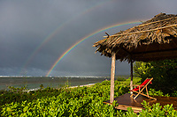 A double rainbow over Waialua Beach, North Shore of O'ahu.