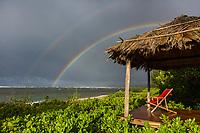 A double rainbow over Waialua Beach, North Shore of O'ahu.