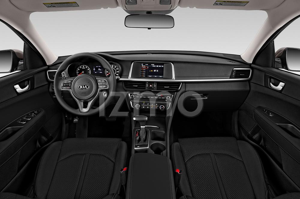 Stock photo of straight dashboard view of 2018 KIA Optima LX 4 Door Sedan Dashboard