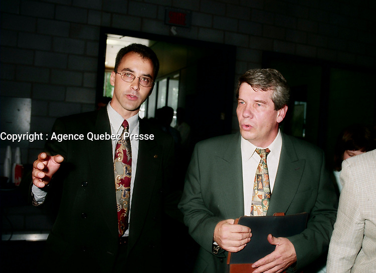 Montreal (Qc) CANADA - May 17 1998<br /> -File Photo -<br /> <br />  Municipal candidate Martin Lemay (L) and Jean Dore , RCM Leader  (R)<br /> <br /> Martin Lemay (born March 19, 1964 in Amos, Quebec) is a politician in Quebec, Canada. He is the Parti Québécois (PQ) Member of the National Assembly (MNA) for Sainte-Marie—Saint-Jacques in the National Assembly of Quebec