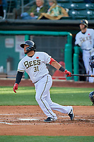 Roberto Pena (31) of the Salt Lake Bees bats against the Tacoma Rainiers at Smith's Ballpark on May 27, 2019 in Salt Lake City, Utah. The Bees defeated the Rainiers 5-0. (Stephen Smith/Four Seam Images)