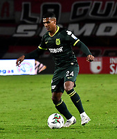 BOGOTA-COLOMBIA, 08-03-2020: Estefano Arango de Atletico Nacional, durante partido de la fecha 8 entre Independiente Santa Fe y Atletico Nacional, por la Liga BetPLay DIMAYOR I 2020, en el estadio Nemesio Camacho El Campin de la ciudad de Bogota. / Estefano Arango of Atletico Nacional, during a match of the 8th date between Independiente Santa Fe and Atletico Nacional, for the BetPlay DIMAYOR I Leguaje 2020 at the Nemesio Camacho El Campin Stadium in Bogota city. / Photo: VizzorImage / Luis Ramirez / Staff.