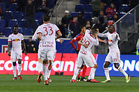 Harrison, NJ - Thursday March 01, 2018: Sean Davis celebrates scoring, Bradley Wright-Phillips, Marc Rzatkowski. The New York Red Bulls defeated C.D. Olimpia 2-0 (3-1 on aggregate) during a 2018 CONCACAF Champions League Round of 16 match at Red Bull Arena.
