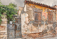 Ruined house of Plaka in Athens, Greece